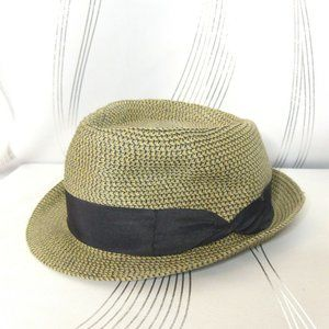 D&Y 100% Paper Taupe Wicker Fedora Trilby Hat